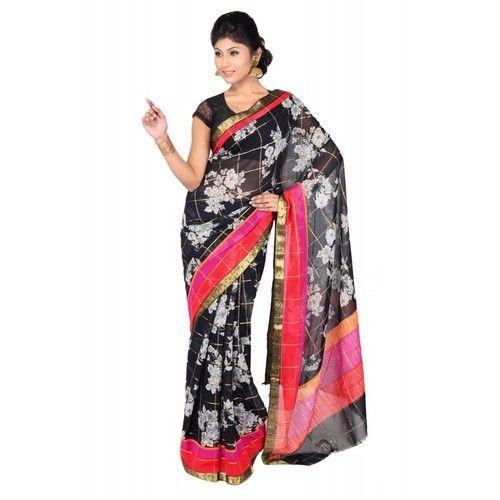 5af6e52dde Georgette Black Printed Zari Border Saree, Rs 1600 /piece   ID ...