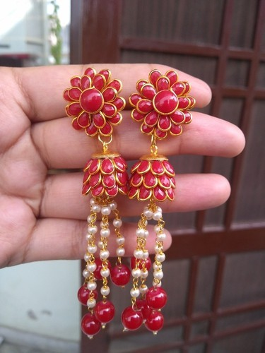 f2265eca17b64 Red Colored Alloy Jhumka Earrings With Pearls