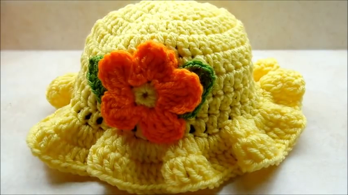 Handmade Crochet Baby Hat Cap Yellow Love Crochet Art Ahmedabad
