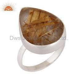 Golden Rutile Gemstone Sterling Silver Designer Ring Jewelry