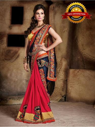 Women s Branded Indian Style Georgette Red Embroidered Elegan Saree ... 7a48a472f6