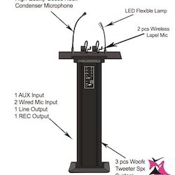 Wooden Black Lectern With Vhf Wireless Mic - IM6236BT