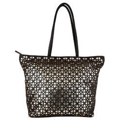 Black Canvas Fashion Tote With White Print Words