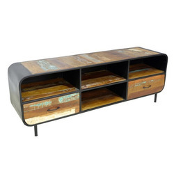 Open Iron Wood Vintage Rustic Reclaimed Wood Two Door TV Cabinet, Size/Dimension: W160xd40xh55 cm