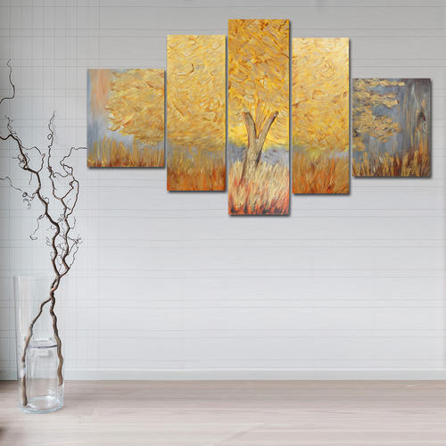 Wooden Multiple Frame Canvas Textured Golden Tree Large Painting ...