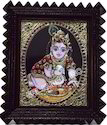 Baby Krishna with Butter Tanjore Paintings
