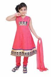 Girls Red Cotton Jacquard Churidar Suit
