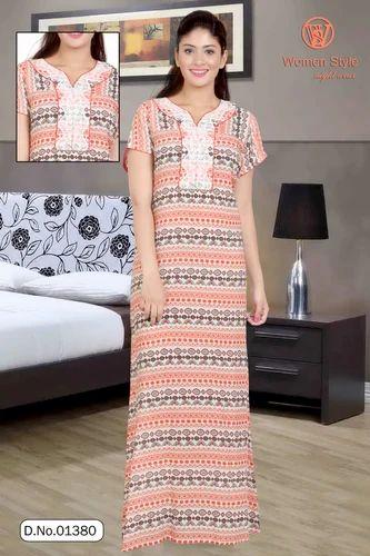 0660114768 Nighties Printed Designer Ladies Night Gown, Rs 810 /pair   ID ...