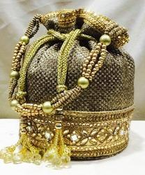 Embroidery Brown and Golden Designer Jute Potli Bags, for Party, Wedding