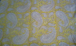 Yellow Paisley Block Printed Fabric