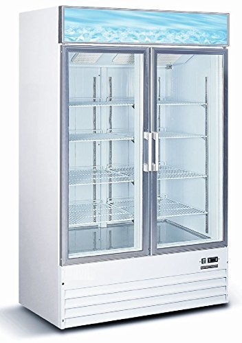 Double Door Glass Showcase Freezer Commercial Cooling Cabinet