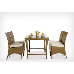 Wicker Glass Dining Table Set