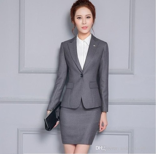 Gray Wool Mix And Tericoat Woman Suit