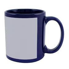 11 oz dark blue color mug with white patch