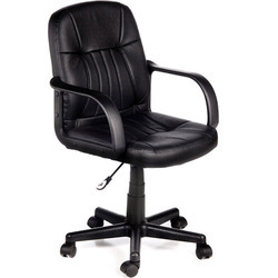 Black Leather Workstation Chair