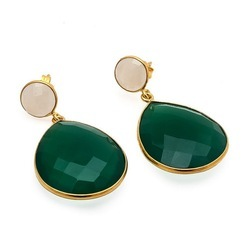 Green Onyx And Milky Chalcedony Gemstone Earring
