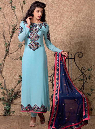 Sky Blue Designer Salwar Suit With Heavy Dupatta Ladies Ke Designer