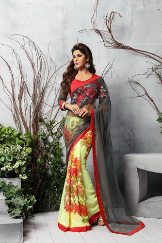 bdc8d129d71 Shaily Yellow   Grey Georgette Printed Saree at Rs 630  piece(s ...