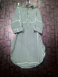 Black And White Ladies Long Top