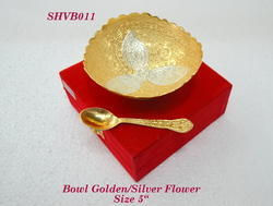 Bowl Golden Silver Flower 5