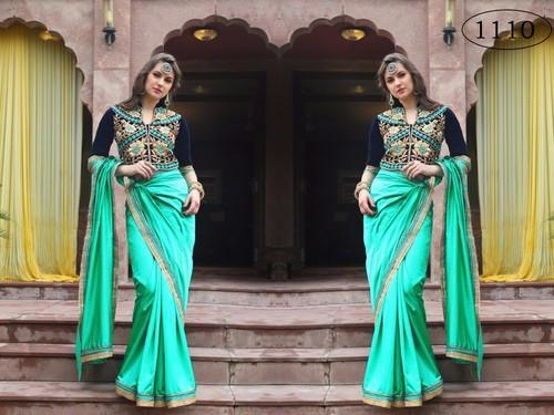 073c481a3044c2 Pure Silk Designer Blouse in long Length with Light Green Plain Saree
