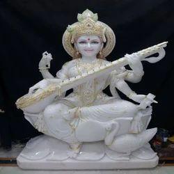 White Marble Saraswati Maa Statue