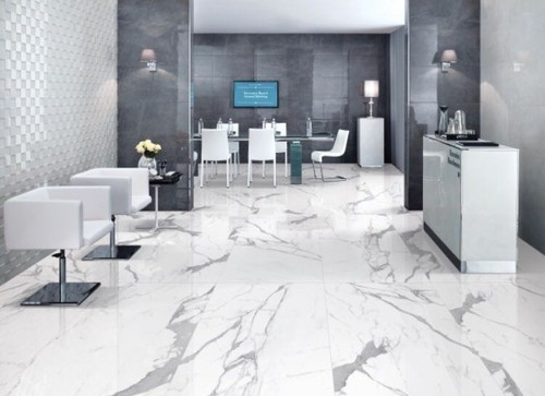 White Satvario Marble Tiles, For Flooring And Countertops, Rs 135 /square  feet | ID: 19121229912