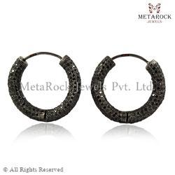 Black Diamond Designer Hoop Earring