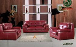 4 Seater Red Leather Sofa
