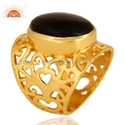 Brass Fashion Ring Gold Plated Gemstone Jewelry