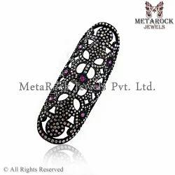 Pink Tourmaline Gemstone Knuckle Ring