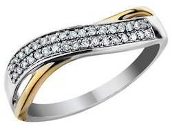 Certified Real Diamond Studded 10K Solid Gold Diamond Band