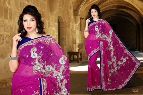 1e1524366c Available In Many Color Stone Work Saree, Rs 2500 /piece, Devyani ...