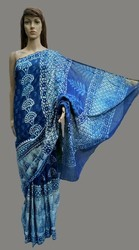 Dabu Indigo Print Cotton Saree