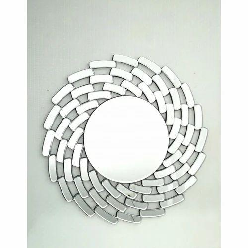 Unique Round Shaped Silver Glass Mirror a0c5f407780