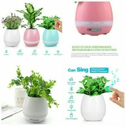 White And Pink Musical Pot with Bluetooth Speaker