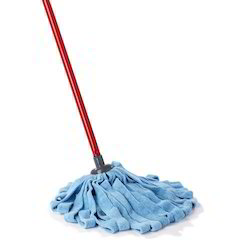 Cylindrical Red And Blue Microfiber Mop