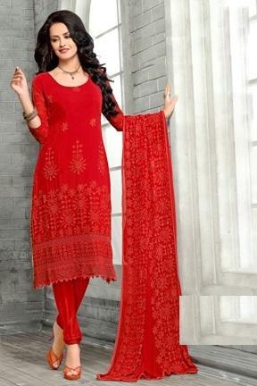 Latest New Red Styles Designer Dress Material