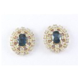 14k Sapphire And Diamond Yellow Gold Earring
