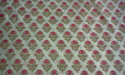Rose Design Block Printed Fabric