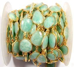 Amazonite Gemstone Bezel Connector Chain