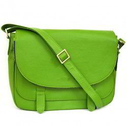 Leather Plain Ladies Green Bag