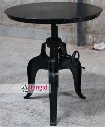 Black Metal Indian Industrial Crank Dining Table for Hotel