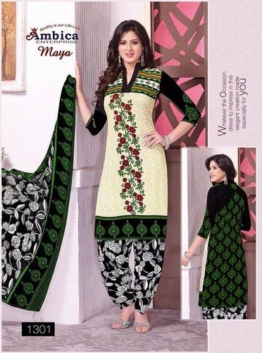 de5f58478b Green Printed Ladies Suit, Printed Salwar Kameez - Madhav Enterprise ...