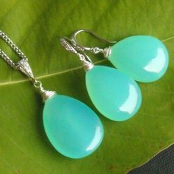 Aqua Chalcedony Wire Wrapped Cabochon Gemstone Earring