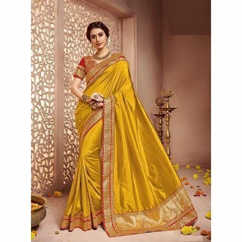 135c500bfd5ab2 Yellow Ladies Ethnic Wear Silk Saree