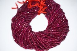 Dyed Ruby Faceted Rondelle Beads Strand