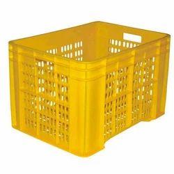 Yellow Mesh Plastic Crate
