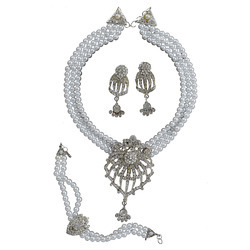 Taj Pearl White Beads Designer Gold Tone Necklace Set
