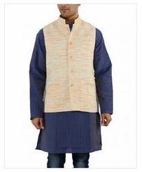 Khadi Nation Cream Handwoven Waist Coat